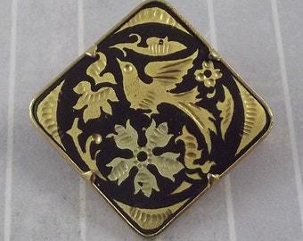 Vintage Damascene Bird Flowers Pin Brooch Gold Black Diamond Shape