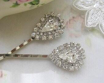 wedding Rhinestone hair pin, Bridal hair pins,  wedding hair jewelry, vintage style, hair ACCESSORIES, bridesmaid gift, Set of 2