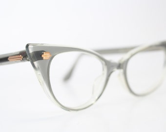 Unused Gray Pointy cat eye glasses vintage cateye eyeglasses frames
