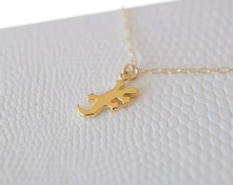 Tiny Lizard Necklace, Layering Necklace, Gold Lizard, Multilayers, Gold Jewelry, Iguana Necklace, Tiny Charm Necklace, Petite, Tropical