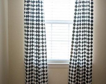 Custom Curtain Panels - Black and White Diamond fabric by Premier Prints