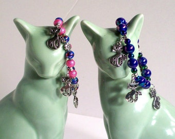 "Kitty, Cat Charm Bracelet in Pink & Blue, Kitty Cat Charms, Colorful Charm Bracelet, Sizes 5"" to 9"" in Length"
