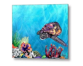 Sea Turtle Ocean Wildlife Birchwood or Metal Art Print - Home Decor