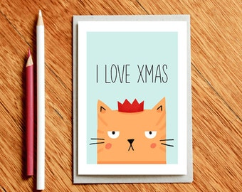 Cat Xmas Card, Funny Xmas Card, Funny Christmas Card, Xmas Card For Him, Funny Holiday Card, Xmas Card For Boyfriend, BFF Xmas Card