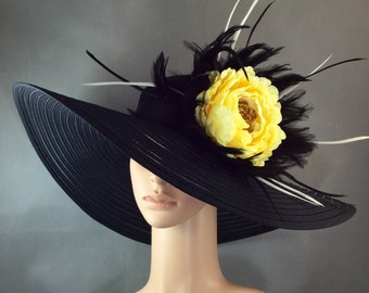 BLACK Kentucky Derby Hat, Fascinator, Preakness Belmont Del Mar Derby Hat Wide Brim Dress Hat  Bridal Wedding Hat Tea Party Hat Ascot