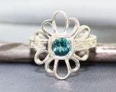 Blue Topaz Daisy Ring, Handmade Engraved 14k White Gold, Vintage Antique Inspired Wedding or Engagment Ring