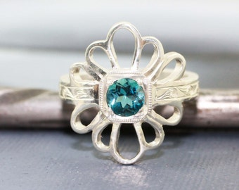 Blue Topaz Daisy Ring, Handmade Engraved 14k White Gold, Vintage Antique Inspired Wedding or Engagment Ring
