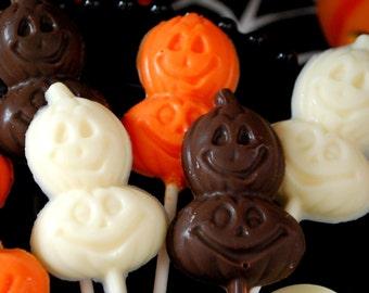 Jack O'Lantern Chocolate Lollipops - Set of 10