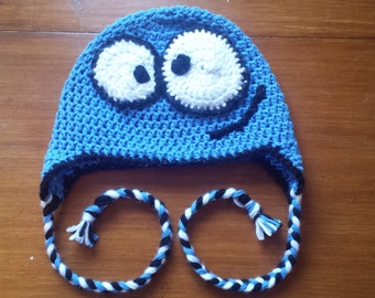 Foster's Home for Imaginary Friends BLOO beanie with earflaps and braided cord