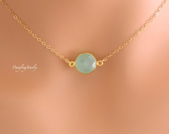 GOLD Mint Necklace, Bridesmaid Necklace, Tiny Necklace, Simple Necklace, Christmas Gift, Bridesmaid Gift, Wedding Jewelry, Sister Necklace