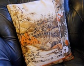 Vintage Patchwork Cushion -  Farmhouse Woodland Silver Birch Brown and Orange