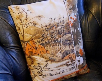 Vintage Patchwork Cushion cover  Farmhouse Woodland Silver Birch Brown and Orange