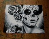 40 PERCENT OFF Day of the Dead Art - Dia De Los Muertos Sugar Skull Girl Portrait Felicity By Carissa Rose Signed Art Print - Black and Whit