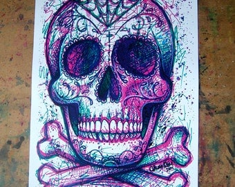 Neon Death Art Print  - 5x7, 8x10, or 11x14 in - Modern Pop Art Sugar Skull Electric Neon Pink Green Colorful Horror Tattoo Art Edgy
