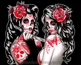 5x7, 8x10, or 11x14 in Signed Art Print - Day of the Dead Sugar Skull Pin Up Girls Tattoo Portrait - The Betrayal - Black Red