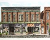 "Jasper Indiana Architectural Art Watercolor Pen and Ink Brick Streetscape Original Home Wall Decor 12"" x 7.5"" Orange"