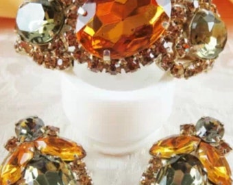 SALE Juliana Clamper Bracelet Earrings Amber Smokey Rhinestones