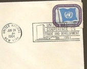 Postal History PAN AM 25th Anniversary Transatlantic Air Mail Service New York London England United Nations #7 and Slogan Cancel June 1964