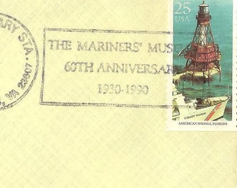 US Postal History US2473 on Mariners' Museum 60th Anniversary Cover June 20 1990 with brochure Newport News Virginia Vintage Paper Ephemera