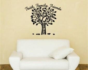 Vinyl Wall Decal - Faith, Family, Friends - Blessings