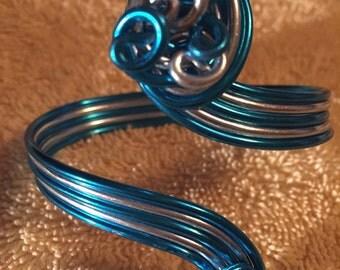 Wire Wrapped Swirl Bracelet, turquoise and blue, cuff bracelet, unique bracelet, hair cuff, aluminum wire bracelet