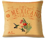 HUMMINGBIRDS Decorative Pillow - Mexican Southwest Accent Pillow -1940's Vintage Birds Upcycled - Cactus - Cotton Linen - Insert Included