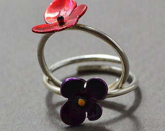 silver ring, Adjustable Ring, hand painted ring, enamel ring, red ring, flower ring