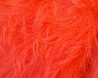 Bright Orange Faux Fur Craft Size