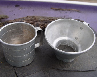 Mid Century Kitchen Aluminum Foley 1 Cup Measure and Canning Jar Funnel