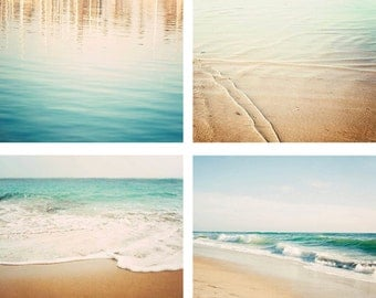 Beach Photography Set, Aqua Decor, Beach Print Set, Seashore, Photo Set, Beach House 5x7, 8x10, 11x14, 16x20