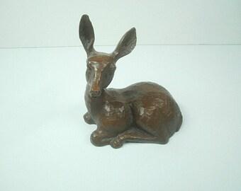 Vintage 1980's Red Mill Mfg Carved Doe Deer