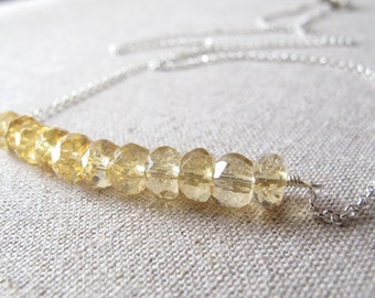Yellow Citrine Necklace Sterling Silver