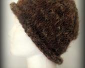 Soft Dark Brown Hand Knit Hat