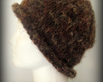 hat - knit hat - hand knit hat - hand made hat- brown hat - brown knit hat - brown cap - brown knit cap - soft brown hat - wool knit hat