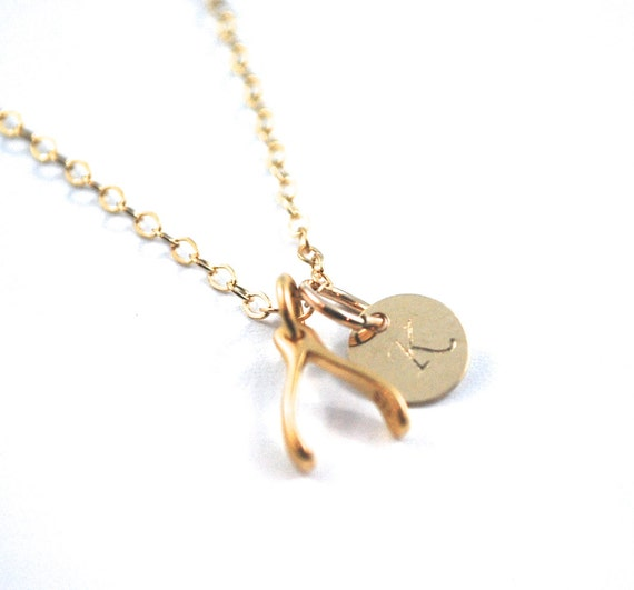 gold filled wishbone initial necklace tiny wish by