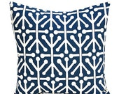 ON SALE SALE Decorative Pillow Cover (One) 16 x16 - Aruba Felix Navy Blue and Natural