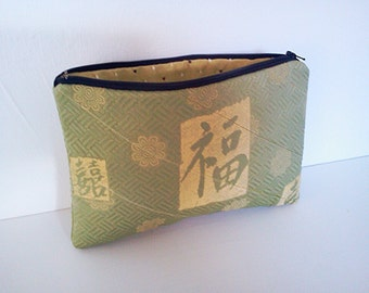 Small Clutch Purse, Asian Upholstery Fabric, Zippered Pouch, Cosmetic Case, Make-up Bag,