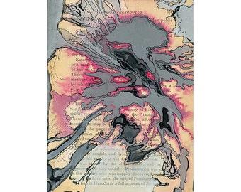 Pink and gray abstract watercolor, book page art, small wall art print, Colonization: Herodotus 1