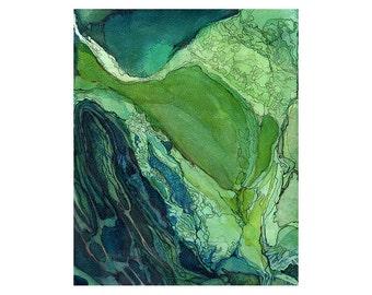 Green watercolor art print, modern abstract wall art, topography inspired, Viridian Cape