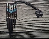 Embroidered Wood Chevron with Dangling Black Howlite Spikes --Blue and Gray