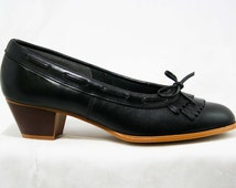 Size 6 M Leather Loafers by Dexter - High Quality - 1980s - Fine Black Leather Shoes - Preppie - Stacked Wood Heels - Deadstock -43236-2