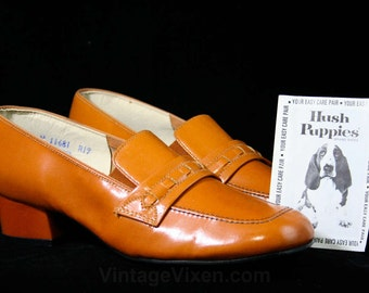 Size 7 W Sharp 1960s Caramel Leather Loafers - Shoes - Nice Quality Hipster 60s - Pigskin by Hush Puppies - 7 Wide Width - 43255-1