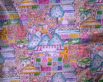 Pastel Village Market Cotton Novelty Fabric 2 3/4 Yards  X0377 Flower Shop, Vegetable Stand
