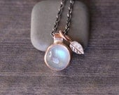 Moonstone Necklace - Silver and Gold Necklace - Leaf Necklace