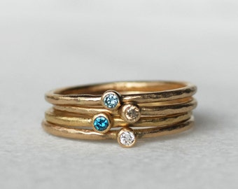 Skinny Mini Diamond Ring - Thin Gold Diamond Stacking Ring - Choose Your Diamond Color