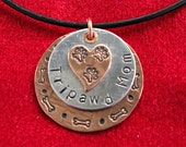 Tripawd Mom Metal Stamped Necklace Charm