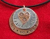 Tripawd Mom Three Paw Stamped Charm Necklace