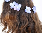 Pleated Vine Crown with Peach and Lilac and Blue Hydrangeas