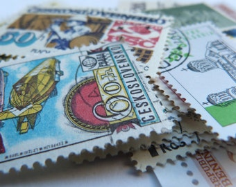 50 Worldwide POSTAGE STAMPS - Scrapbooking, collage, altered art SUPPLIES - 50 Stamp collection from past