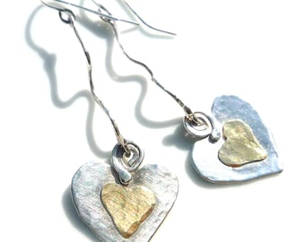 Heart Earrings-Hammered with Love